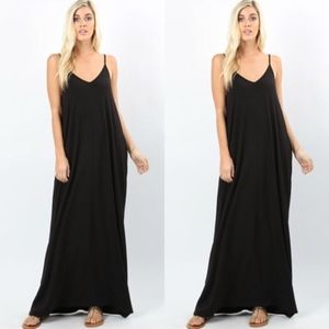 Dresses & Skirts - V-Neck Cami Maxi Dress With Side Pockets